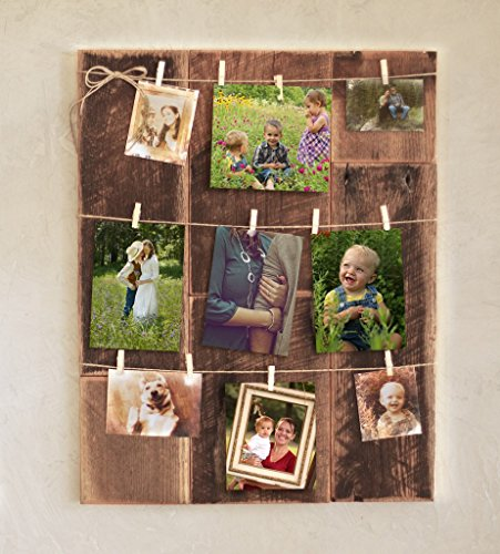 Clothespin photo collage on barn wood
