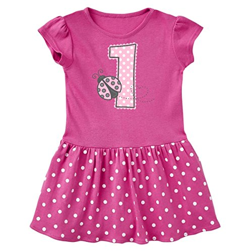 inktastic Pink Ladybug Infant Dress 12 Months Raspberry with Polka Dots 1d278 (Ladybug Raspberry)
