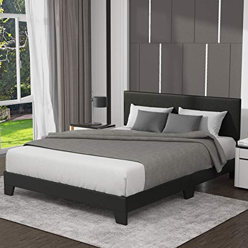 Allewie Full Size Upholstered Platform Bed Frame with Headboard, Faux Leather Mattress Foundation, Strong Wood Slat…