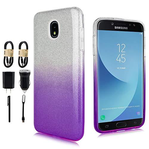 Series Marble Value (Samsung Galaxy J3 2018, J3V J3 V 3rd Gen,Express Prime 3, J3 Star, J3 Achieve, Amp Prime 3 Case, Glitter TPU Protector for Girls Cute Case [Value Bundle] (Purple))
