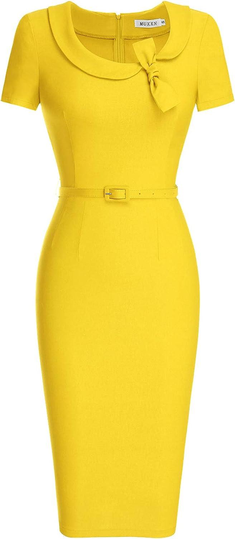 MUXXN Women's Audrey Hepburn Style Short Sleeve Belt Waist Cocktail Tea Dress