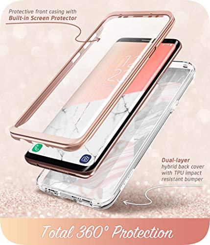Samsung Galaxy S9 Case, [Built-in Screen Protector] i-Blason [Cosmo] Full-Body Glitter Sparkle Bumper Protective Case for Galaxy S9 (2018 Release) (Marble)