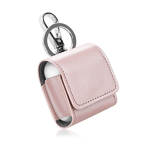 (Fintie AirPods Case, Premium PU Leather [Magnet Closure] Protective Portable Cover Skin with Metal Clasp and Keychain for Apple AirPods 1 & AirPods 2 Charging Case - Rose)
