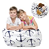 Stuffed Animal Storage Bean Bag Chair, Zooawa Kids Bedroom Organizer for Plush Cuddly Jumbo Animal Toys - 26'', Blue + White Anchor