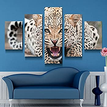 Xuanyi Art 5 Panel African Leopards Canvas Printing Painting Pictures Wall Art Home Decor For Living Room Prints On Canvas(With Inner Wood Frame Ready To Hang Directly) EMS(6-8 Working Day)