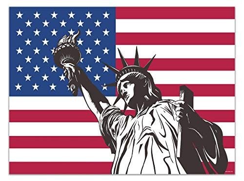 Allenjoy Soft Fabric American Flag Statue of Liberty Sculpture Backdrop 7x5ft for Photography Patriotic 4th of July Independence Day Party Wall Table Decor Baby Newborn Kids Photo Booth Background (Photographer Statue)