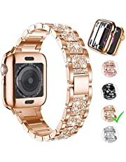 Aergood Diamond Strap, kompatibel med Apple Watch Band 38 / 40mm 44 / 42mm för iWatch-Series 6 / SE / 5/4/3/2/1-band, 【med fodral】 Rostfritt stål Rhinestone fashionabla och lyxiga Rem