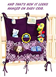 Keep Baby Room Clean & Tidy w/ Cool Babypeta Stylish Organizer - Hanging Changing Nursery Organiser for Toys, Diapers, Pacifiers & Other Baby Items, Fits Baby Cribs & Changing Tables (violet)