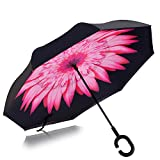 Strawberry Double Layer Wind-Proof, UV-Proof Reverse Folding Inverted Umbrella Travel Umbrella with C Shape Handle and Carrying Bag, Pink Flower