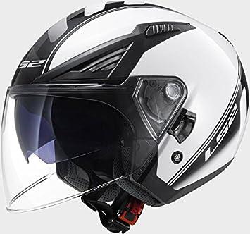 LS2 of586 Atom color blanco negro casco de moto, LS2 OF586, negro/blanco