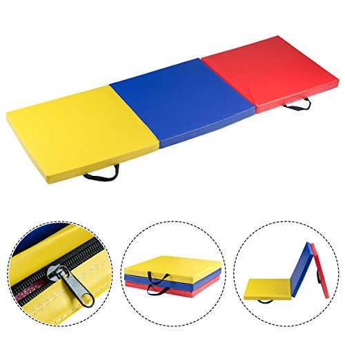 Giantex 6'x2′ Tri-Fold Gymnastics Mat for Tumbling Exercise Gym Fitness with Carrying Handles (Multicolor)