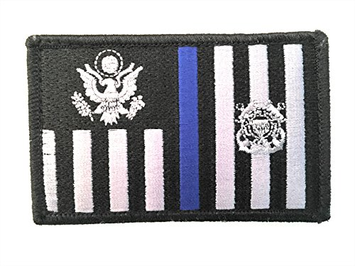 Pennant Patch - US Coast Guard Tactical Ensign Thin Blue Line Embroidery Patch with Hook/Loop Backing
