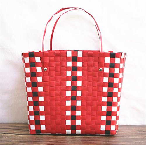 - Women Woven Causal Shopping Travel Bag INS Weave Basket Bag Handmade Beach Bag Rattan Handbags Kintted Shoulder Tote