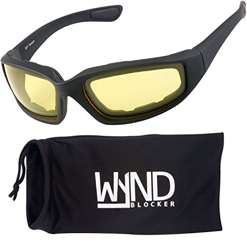 WYND Blocker Motorcycle & Biking Wind Resistant Sports Wrap Sunglasses (Black / Yellow - Motorsport Sunglasses