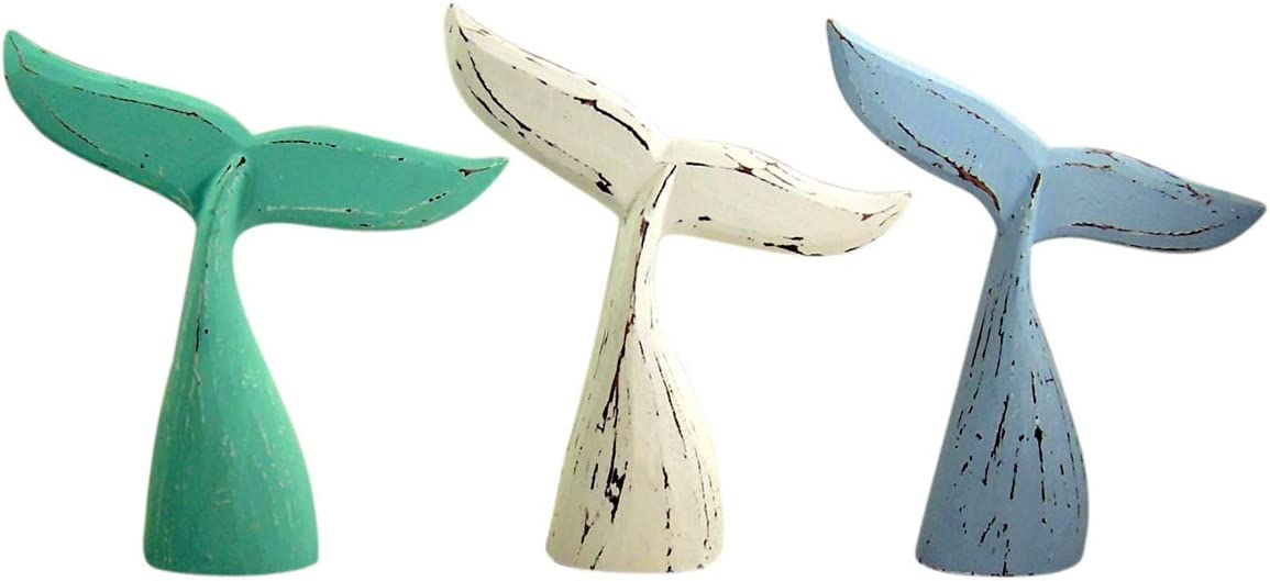 Beached Themed Home Decor Pastel White, Blue, and Sea Green Rustic Distressed Wooden Whale Tail Statues, Set of 3, 10 1/2 Inch