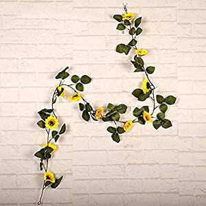 String Fairy Lights With Sunflowers Led Lighted Fall Autumn Pumpkin Maple Leaves Garland Decor, 1.8M Artificial Silk Flowers Fall Decor 3