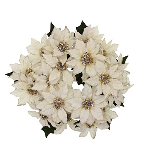 7.5-inch (3-inch Inner Ring) Artificial Poinsettia Candlering Candle Ring Off White Cream (Single Unit) ()