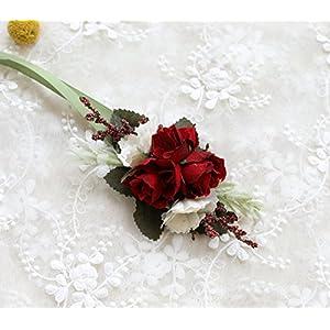 Prettybuy Wedding Flower Set of Boutonniere Wrist Flower Rose Handmade Ribbon Pack of 4 55