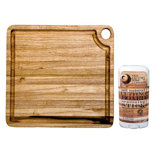 Proteak Marine Collection Edge Grain Teak Rectangular 8 x 8 Inch Cutting Board with Seasoning Stick