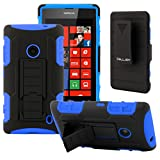 CellJoy® Nokia Lumia 520 (WILL NOT FIT LUMIA 521) Hard Case Protective Cover Skin [Future Armor] Ultra Fit Dual Protection Cover with Belt Clip Holster For Lumia 520 [Retail Packaged] (Blue / Black)