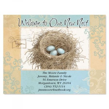 Blue Nest Moving Announcements Postcards - Set of 24, Personalized with Address, 5-1/4