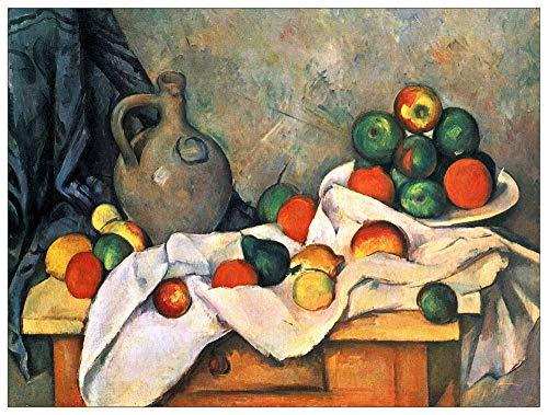 ArtPlaza TW92185 Cezanne Paul - Still Life, Drapery, Pitcher and Fruit Bowl Decorative Panel 51x39.5 Inch Multicolored
