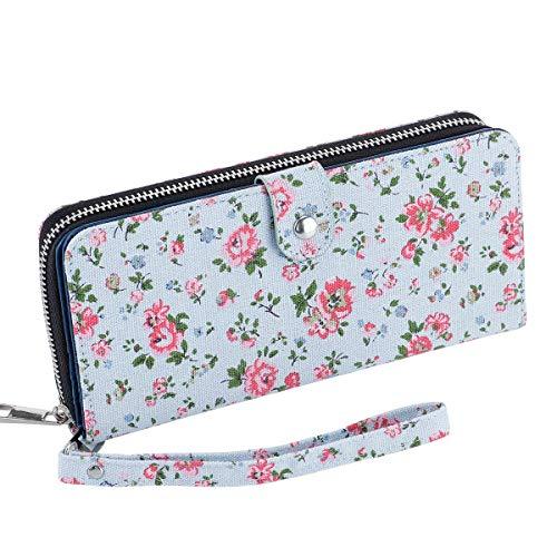 Women's Bifold Wallet Large Clutch Cellphone Purse Ladies Multi-Card Slot Wallet Passport Holder with Wristlet Strap