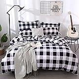 Lurson Buffalo Plaid Duvet Cover King Set Black and White Buffalo Check Gingham Geometric Bedding Set Nordic Style Checker Pl
