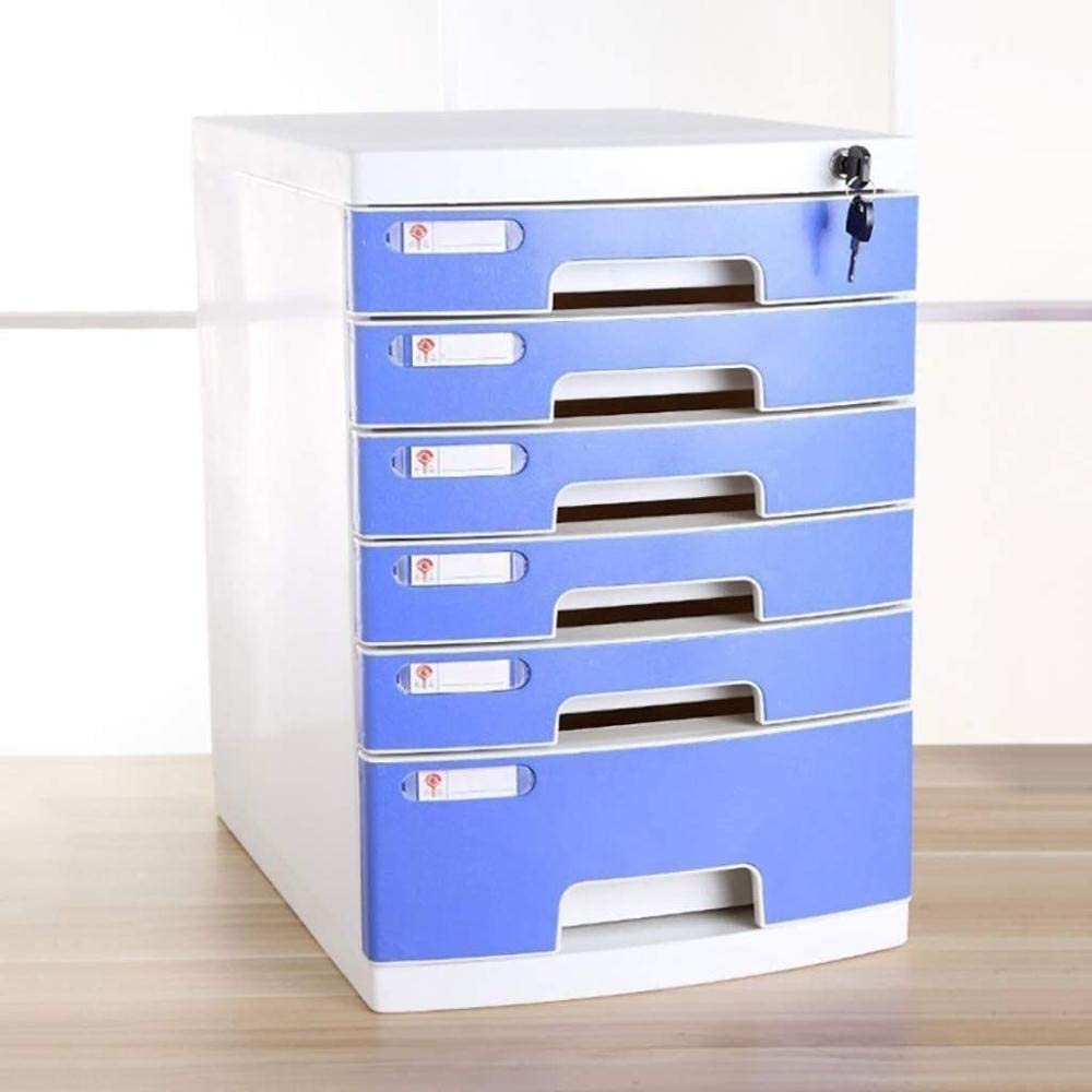 ファイルキャビネット ファイルキャビネット作業Efficiencyfileキャビネット収納ボックスインフォメーションオフィス家具アーカイブキャビネットロック引き出しタイプ高容量、プラスチック材料29.5 * 39.4 * 43センチメートル オフィス用品 (Color : Blue)
