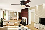 Mazon 44-in Oil-Rubbed bronze Integrated LED Indoor Flush Mount Ceiling Fan with Light Kit and Remote