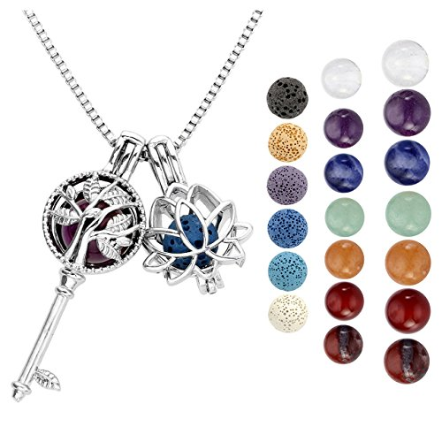 Healing Aromatherapy (Top Plaza Fashion Aromatherapy Essential Oil Diffuser Necklace Healing Crystal Double Locket Pendant W/6 Dyed Lava Rock Stone + 7 Chakra Gemstones Beads(Tree Of Life Key+Lotus))