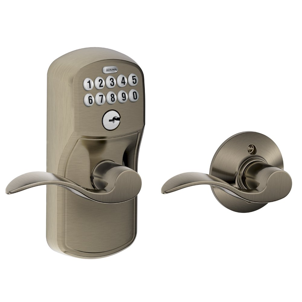 Schlage FE595 PLY 620 ACC Plymouth Keypad Entry With Flex Lock And Accent  Style Levers, Antique Pewter   Door Handles   Amazon.com