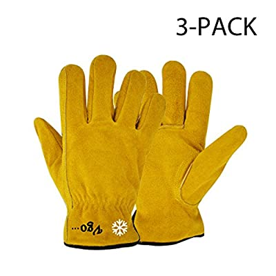 "Vgo Glove Lined Cowhide Split Leather Work and Driver Gloves, For Heavy Duty/Truck Driving/Warehouse/Gardening/Farm (3 Pairs, Yellow, Size 11""/L and 11.5""/XL)"