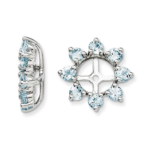Sterling Silver Rhodium Aquamarine Earring Jacket by Jewels By Lux