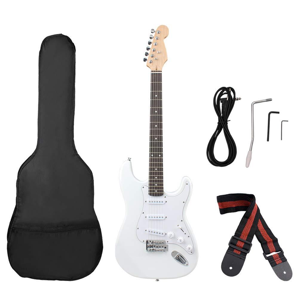 NUYI-4 Guitarra eléctrica Genuina Serie ST Guitarra eléctrica Blanca Práctica para Principiantes Tocando Guitarra eléctrica: Amazon.es: Hogar
