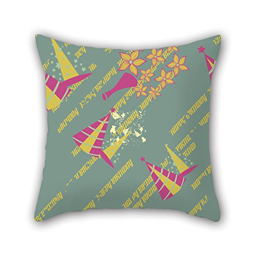 NICEPLW 16 X 16 Inches / 40 By 40 Cm Happy Birthday Cushion Covers,each Side Is Fit For Bedroom,deck Chair,monther,her,couples,office