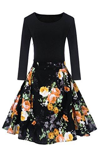 Yming Une Ligne Bureau Floral Midi À Manches Longues Vintage Femmes Robe Noire + Fleur Jaune
