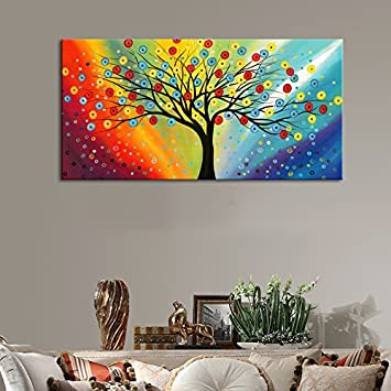 Extra Large Canvas Painting Wall Art with 1 1 5 Inch Thickness Frame Ready to Hang – Sunset Blossom Tree Colorful Sky Abstract Painting Contemporary Pictures for Living Room Bedroom Decoration