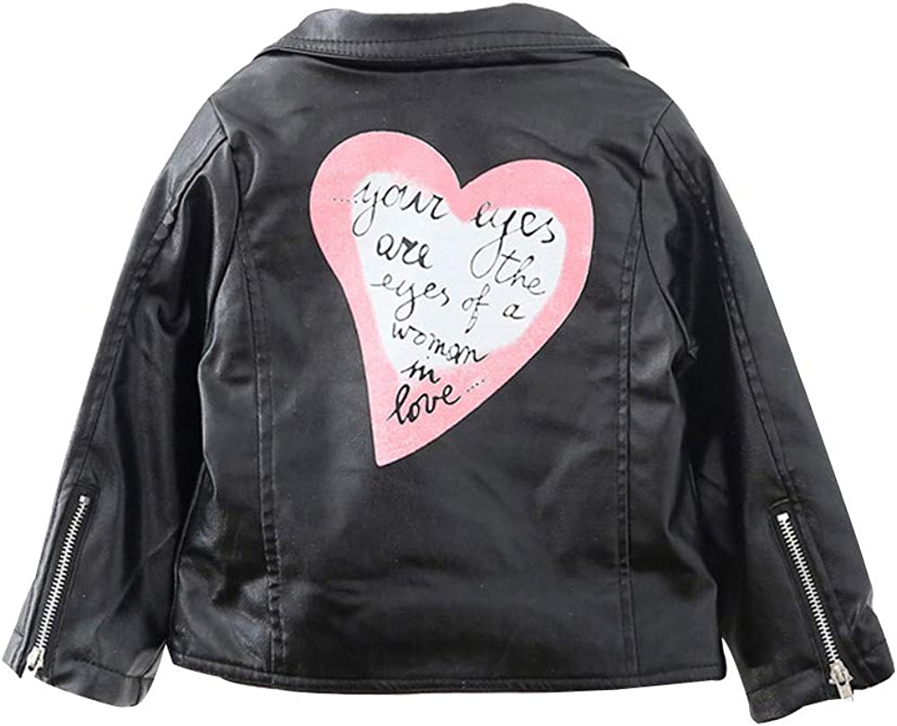Cute Winter Heart Letter Outerwear Leather Short Coat Clothes Willsa Baby Girls Jacket