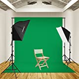 CRAPHY 125W 5500K Photography Studio Video Lights Lighting Kit 2028 Softbox + 3 Backdrops (White Black Green) + Background Support Stand (10x6.5ft)