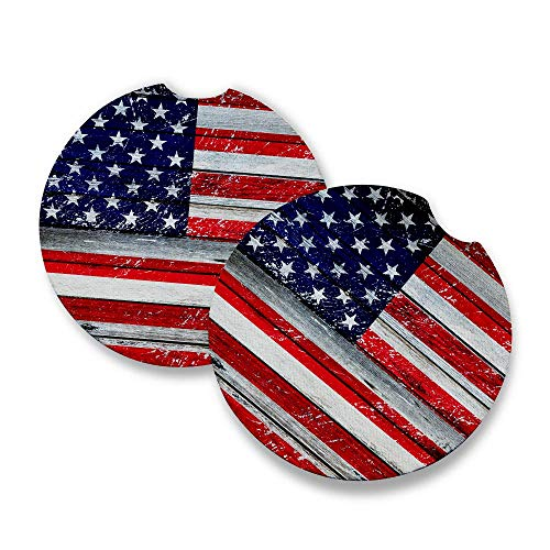 Distressed USA Flag | Car Coasters for drinks Set of 2 | Perfect Car Accessories with absorbent coasters. Car Coaster measures 2.56 inches with rubber backing.