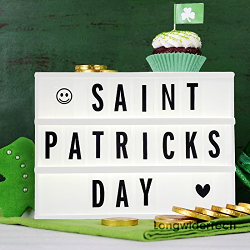 Light up Box Sign with Letters - A4 Size DIY Decorative Cinema Symbols Numbers, Fun Message Board for St Patricks Day Easter Birthday Wedding Graduation Decorations, Gifts for Mother Father Her (Vintage Character Port)