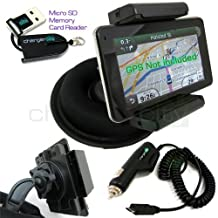 Chargercity OEM Beanbag Friction Mount & 12v Car Charger Kit for TomTom VIA 1400 1405 1405T 1405M 1405TM 1435 1435TM 1435T 1500 1505 1505T 1505M 1505TM 1535 1535T 1535TM T M TM GPS Navigator w/ CCity OEM Micro USB Card Reader, Bracket Holder, Car Cable Vehicle Power Cord & Portable Dashboard Friction Mount (Manufacture Direct Replacement Warranty)