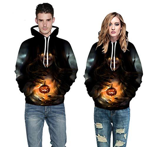 Zulmaliu Unisex Halloween Costumes 3D Print Graphic Sweatshirts Long Sleeve Cotton Pullover Hoodies with ()