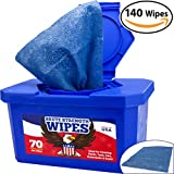 #9: Industrial-Grade, No-Rinse Wet Wipes 140 Pack by Nova Supply. Cuts Grease From Hands, Tools and Work Surface Quickly- No Residue. Heavy Duty, Textured Shop Towels. Big, Citrus Scented Bucket of Rags