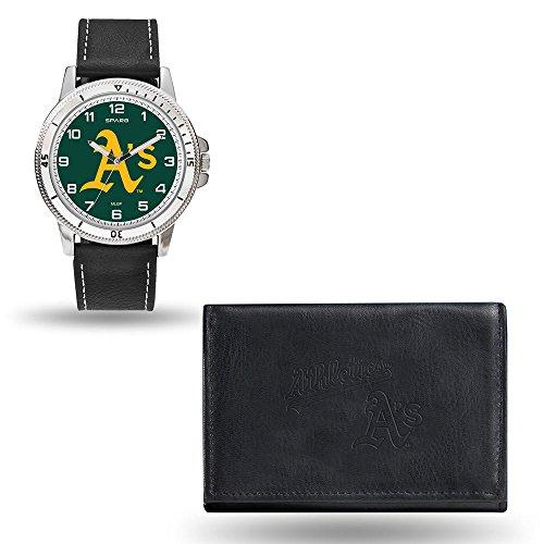 (MLB Oakland Athletics Men's Watch and Wallet Set, Black, 7.5 x 4.25 x 2.75-Inch)