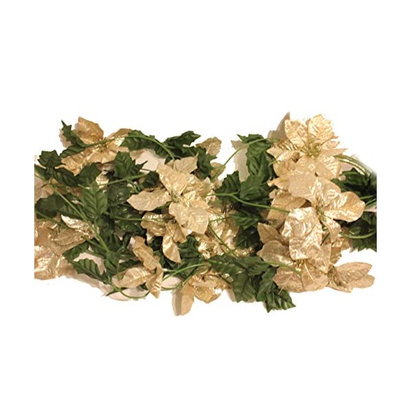 Set of 3 Sparkling Christmas or Wedding Garlands with Artificial Poinsettia Flowers – 5 Foot X 3, 15 Total!! (Champagne Gold)