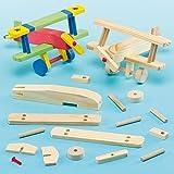 Kit Aeroplanini di Legno per Bambini da Creare Personalizzare ed Esporre come Idea Creativa (confezione da 2)