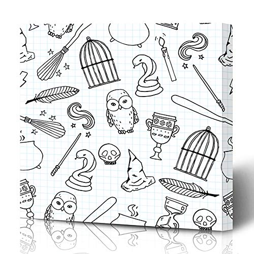 Ahawoso Canvas Prints Wall Art 16x16 Inches Diamond Harry Different Witch Equipment Pattern Skull Potter Birdcage Magic Wand Besom Design Decor for Living Room Office Bedroom