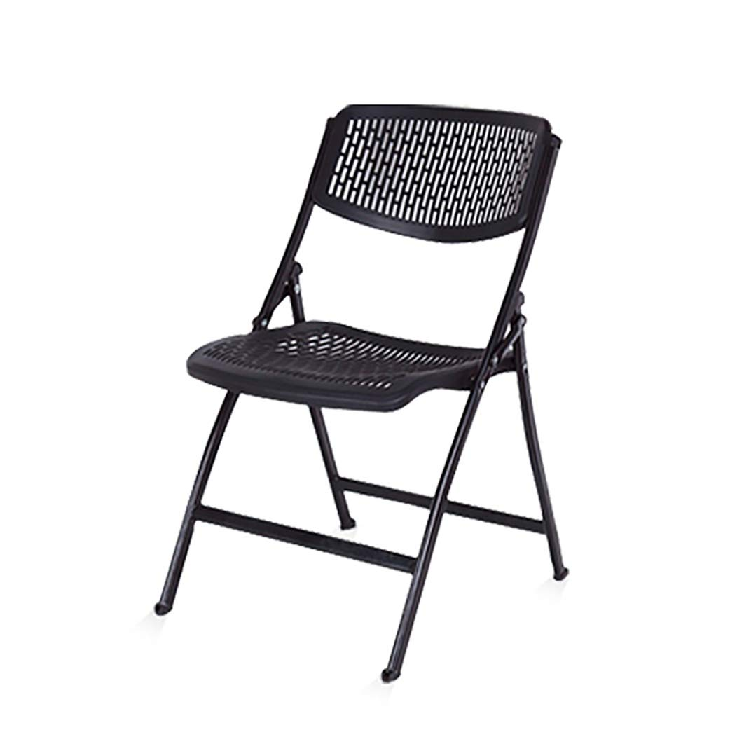 XHLZDY Folding Chair, Home Balcony Leisure Back Folding Chair Plastic Portable Office Computer Chair, Black